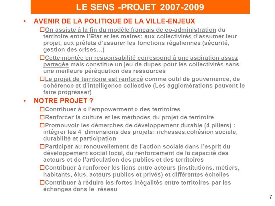 7 AVENIR DE LA POLITIQUE DE LA VILLE-ENJEUX oOn assiste à la fin du modèle français de co-administration du territoire entre lEtat et les maires: aux