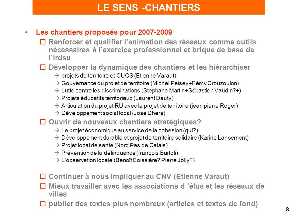 8 Les chantiers proposés pour 2007-2009 oRenforcer et qualifier lanimation des réseaux comme outils nécessaires à lexercice professionnel et brique de