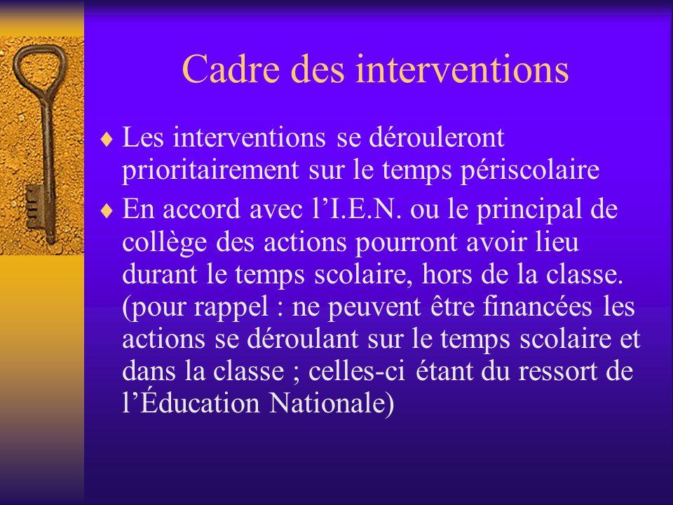 Cadre des interventions Les interventions se dérouleront prioritairement sur le temps périscolaire En accord avec lI.E.N.