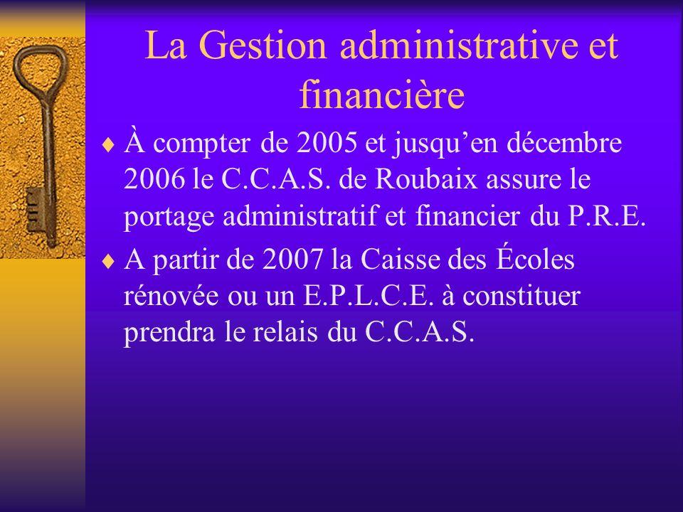 La Gestion administrative et financière À compter de 2005 et jusquen décembre 2006 le C.C.A.S.