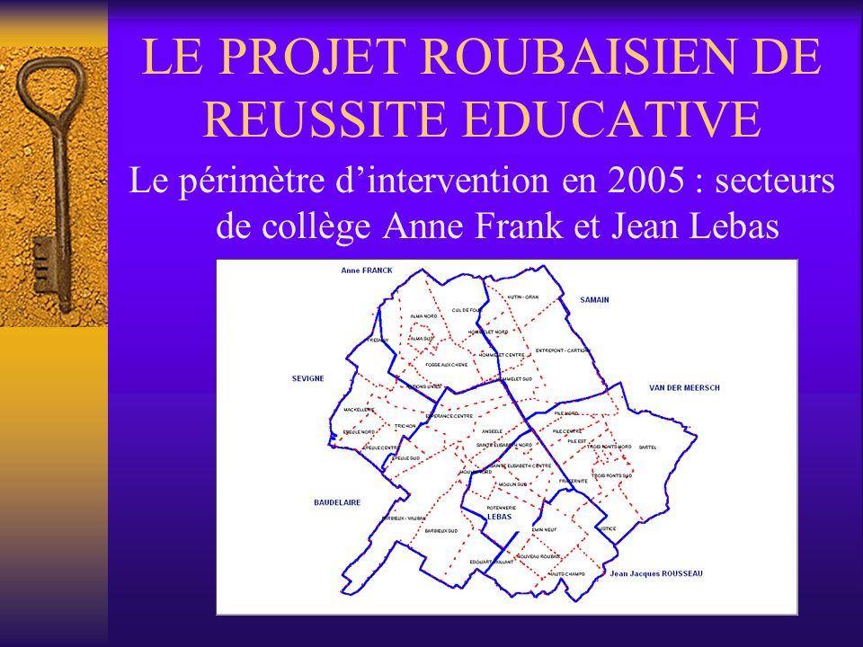 LE PROJET ROUBAISIEN DE REUSSITE EDUCATIVE Le périmètre dintervention en 2005 : secteurs de collège Anne Frank et Jean Lebas