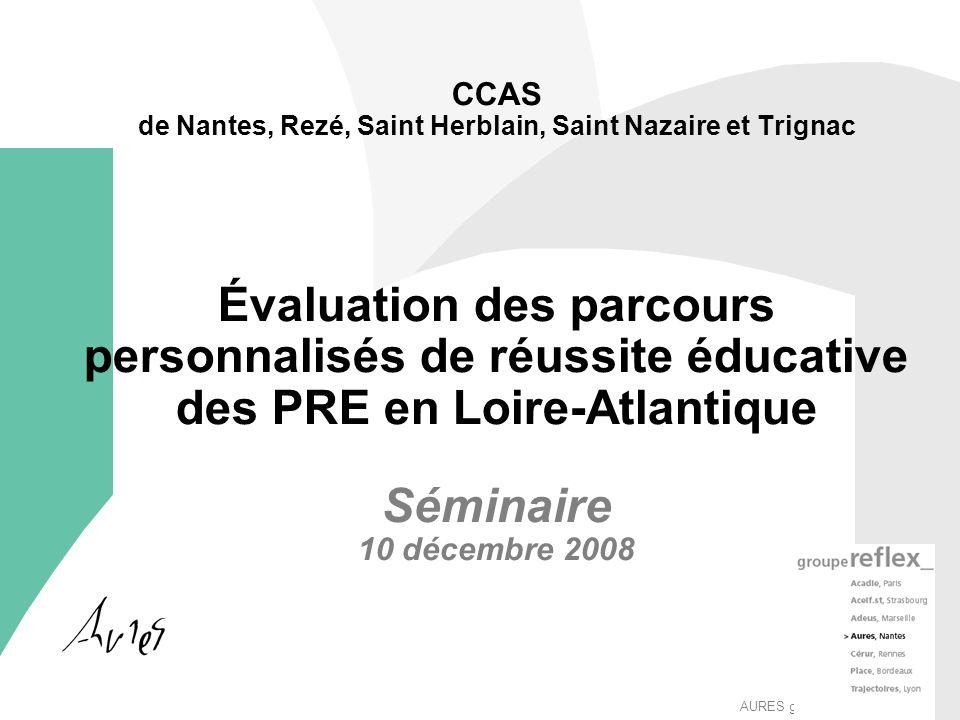 AURES groupeReflex_ CCAS de Nantes, Rezé, Saint Herblain, Saint Nazaire et Trignac Évaluation des parcours personnalisés de réussite éducative des PRE en Loire-Atlantique Séminaire 10 décembre 2008