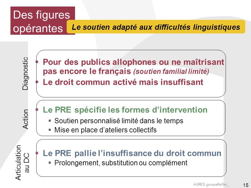 AURES groupeReflex_ 15 Pour des publics allophones ou ne maîtrisant pas encore le français (soutien familial limité) Le droit commun activé mais insuf