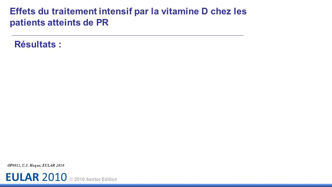 EULAR 2010 © 2010 Santor Edition Résultats : Effets du traitement intensif par la vitamine D chez les patients atteints de PR OP0011, U.J. Haque, EULA