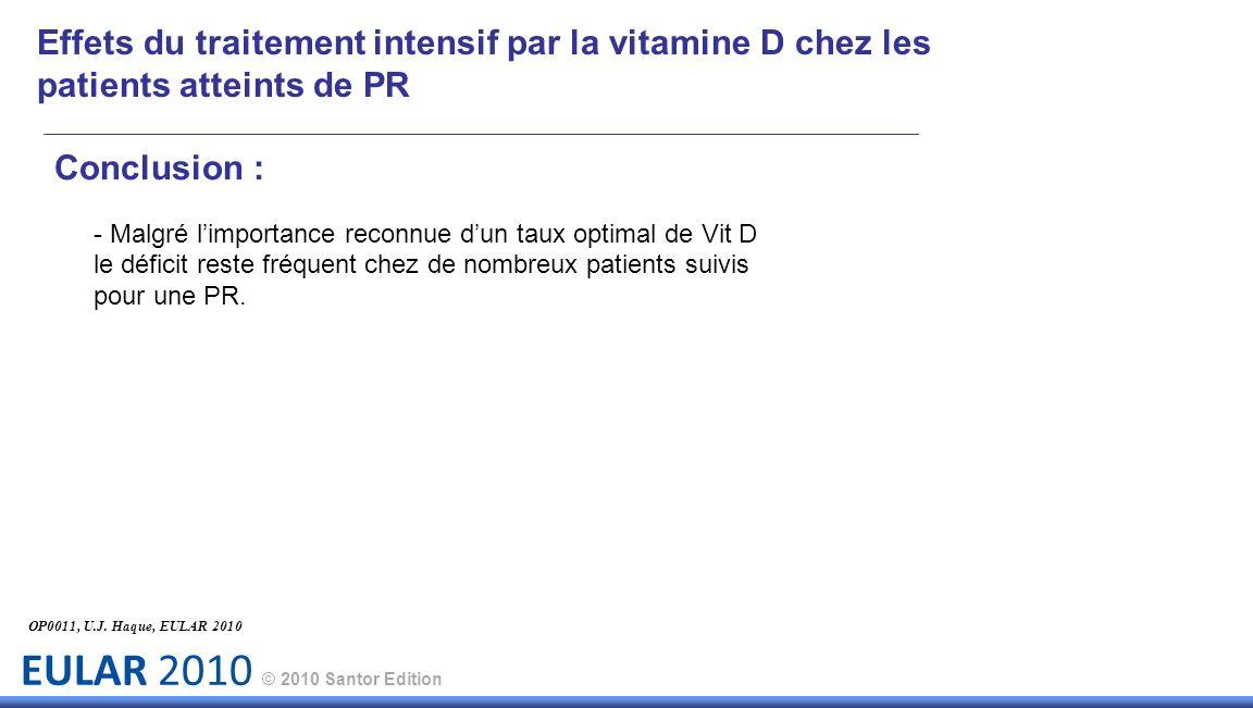 EULAR 2010 © 2010 Santor Edition Effets du traitement intensif par la vitamine D chez les patients atteints de PR Conclusion : - Malgré limportance reconnue dun taux optimal de Vit D le déficit reste fréquent chez de nombreux patients suivis pour une PR.
