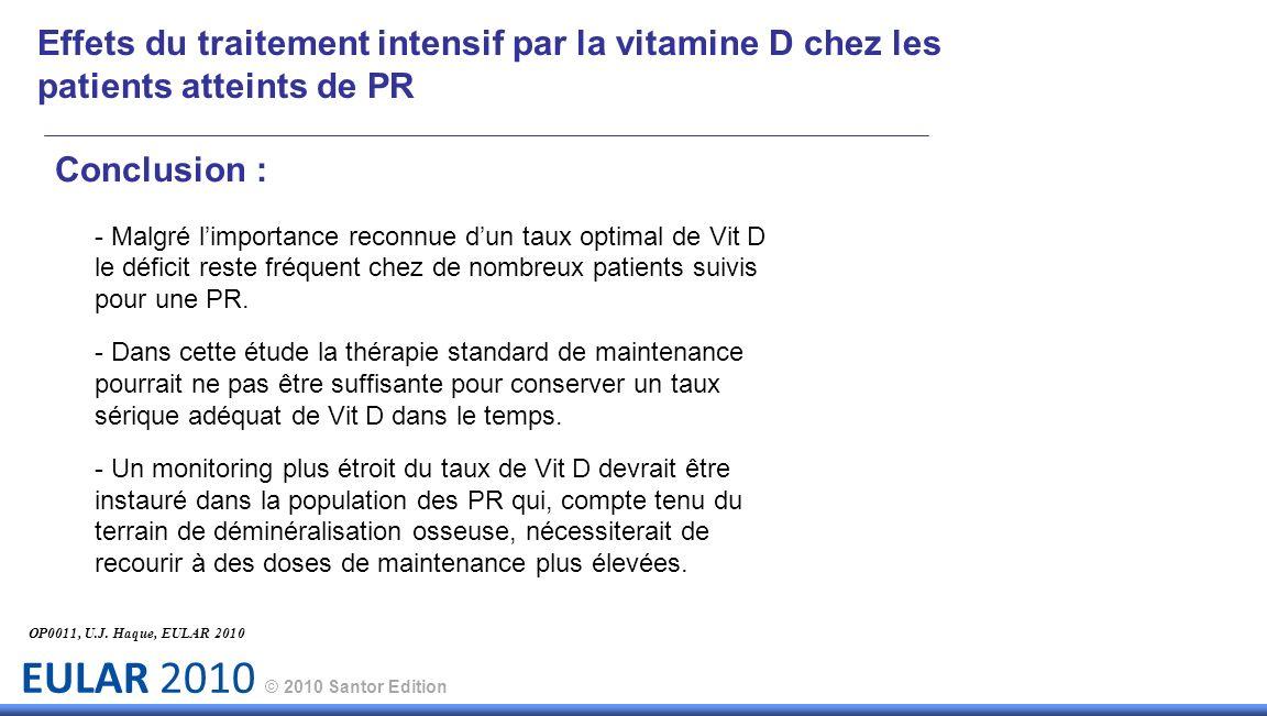 EULAR 2010 © 2010 Santor Edition Effets du traitement intensif par la vitamine D chez les patients atteints de PR Conclusion : - Malgré limportance re