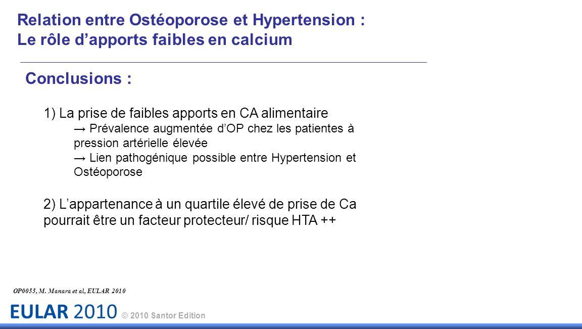 EULAR 2010 © 2010 Santor Edition Relation entre Ostéoporose et Hypertension : Le rôle dapports faibles en calcium Conclusions : 1) La prise de faibles