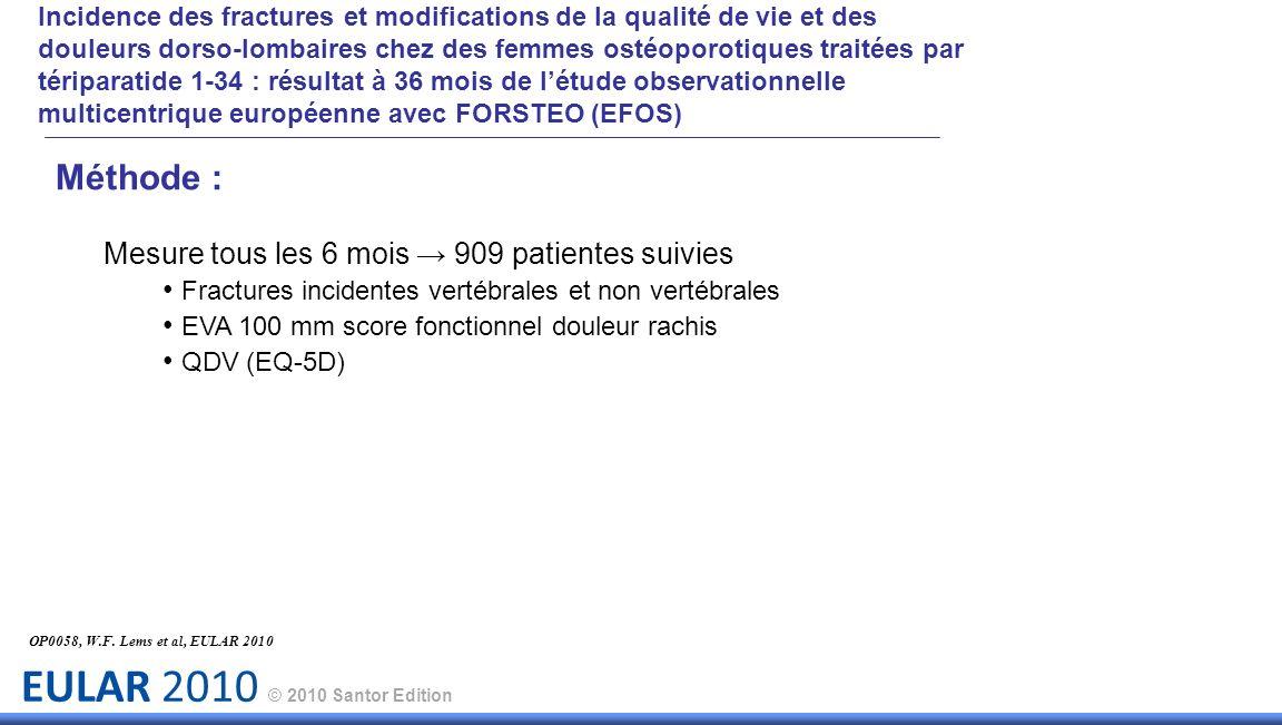 EULAR 2010 © 2010 Santor Edition OP0058, W.F. Lems et al, EULAR 2010 Méthode : Mesure tous les 6 mois 909 patientes suivies Fractures incidentes verté