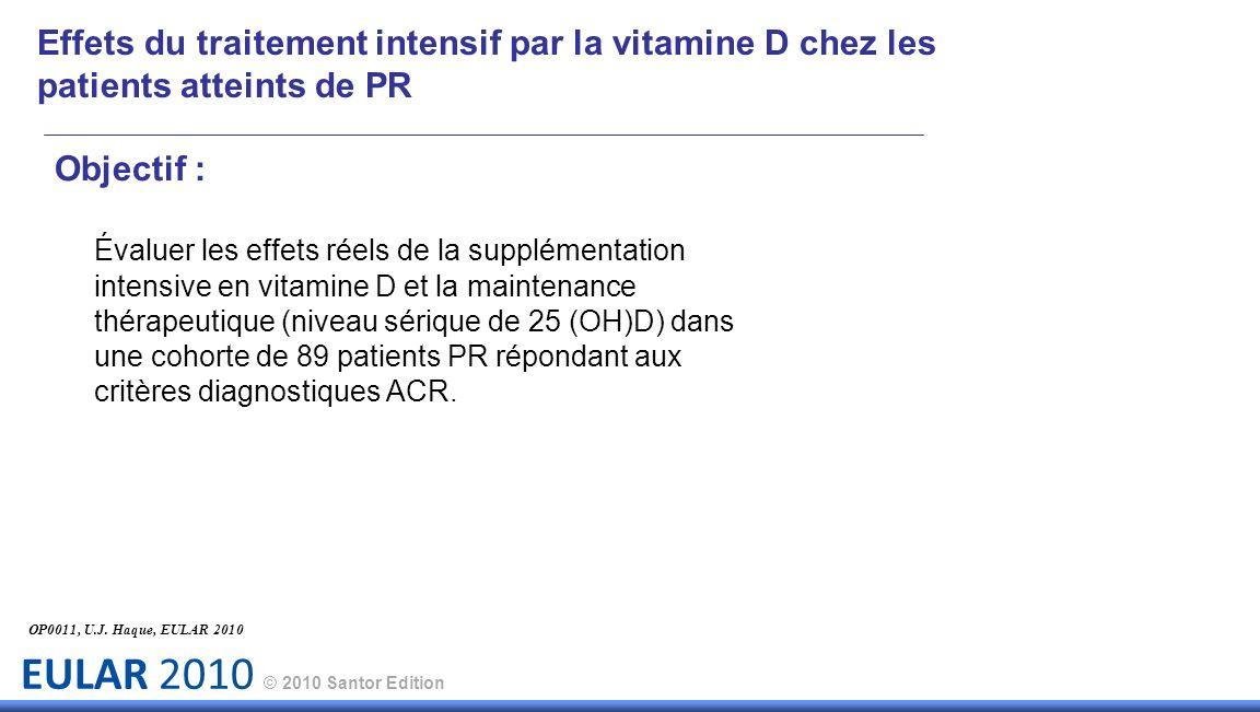 EULAR 2010 © 2010 Santor Edition Objectif : Évaluer les effets réels de la supplémentation intensive en vitamine D et la maintenance thérapeutique (niveau sérique de 25 (OH)D) dans une cohorte de 89 patients PR répondant aux critères diagnostiques ACR.