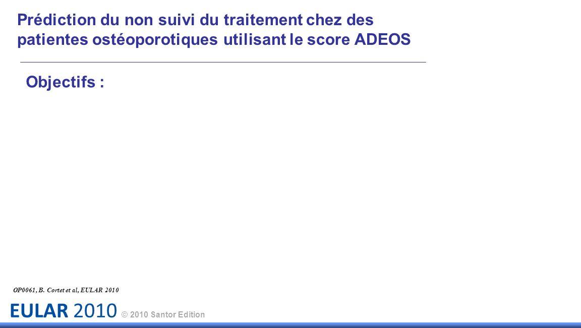 EULAR 2010 © 2010 Santor Edition Prédiction du non suivi du traitement chez des patientes ostéoporotiques utilisant le score ADEOS Objectifs : OP0061, B.