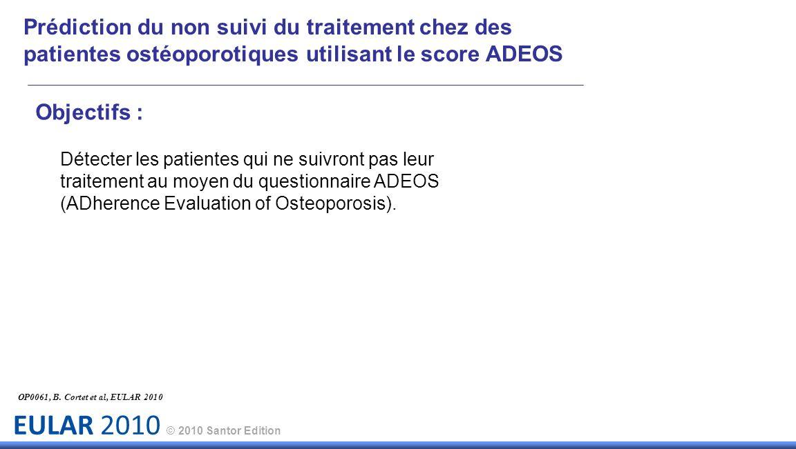 EULAR 2010 © 2010 Santor Edition Prédiction du non suivi du traitement chez des patientes ostéoporotiques utilisant le score ADEOS Objectifs : Détecter les patientes qui ne suivront pas leur traitement au moyen du questionnaire ADEOS (ADherence Evaluation of Osteoporosis).