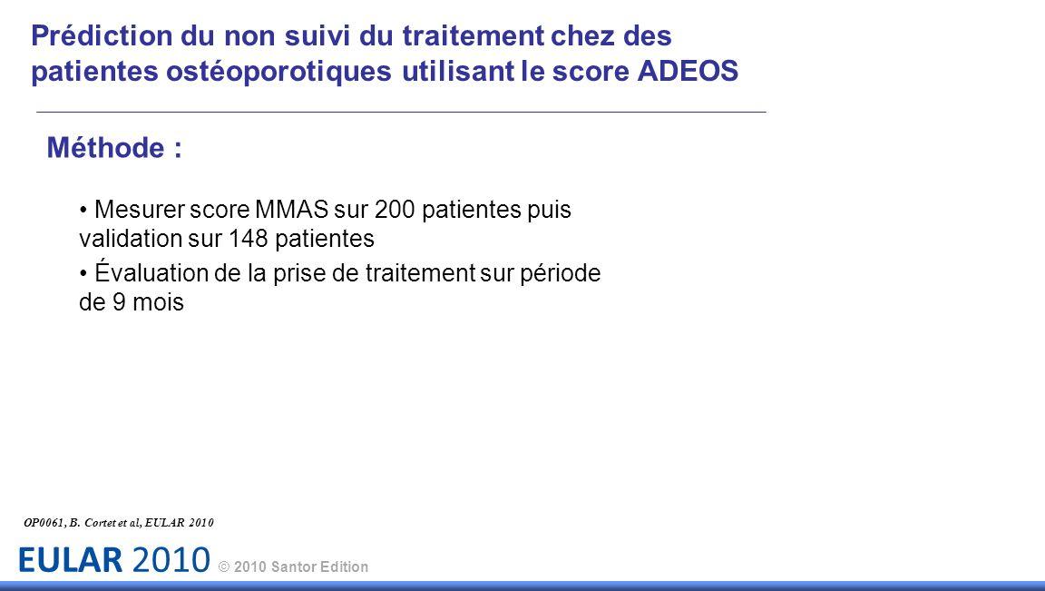 EULAR 2010 © 2010 Santor Edition Prédiction du non suivi du traitement chez des patientes ostéoporotiques utilisant le score ADEOS Méthode : Mesurer s
