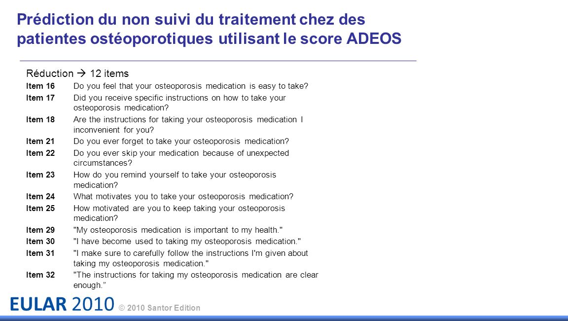 EULAR 2010 © 2010 Santor Edition Réduction 12 items Item 16 Do you feel that your osteoporosis medication is easy to take? Item 17 Did you receive spe