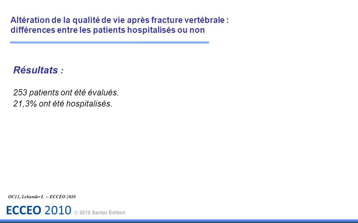 ECCEO 2010 © 2010 Santor Edition Résultats : 253 patients ont été évalués. 21,3% ont été hospitalisés. OC11, Lekander I. – ECCEO 2010 Altération de la