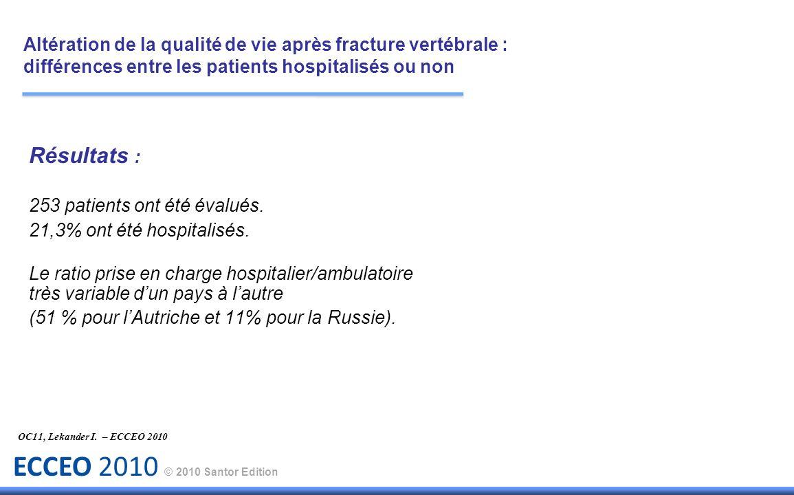 ECCEO 2010 © 2010 Santor Edition Résultats : 253 patients ont été évalués. 21,3% ont été hospitalisés. Le ratio prise en charge hospitalier/ambulatoir