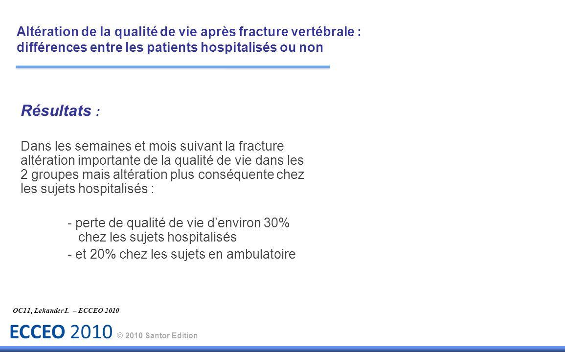 ECCEO 2010 © 2010 Santor Edition Résultats : Dans les semaines et mois suivant la fracture altération importante de la qualité de vie dans les 2 group