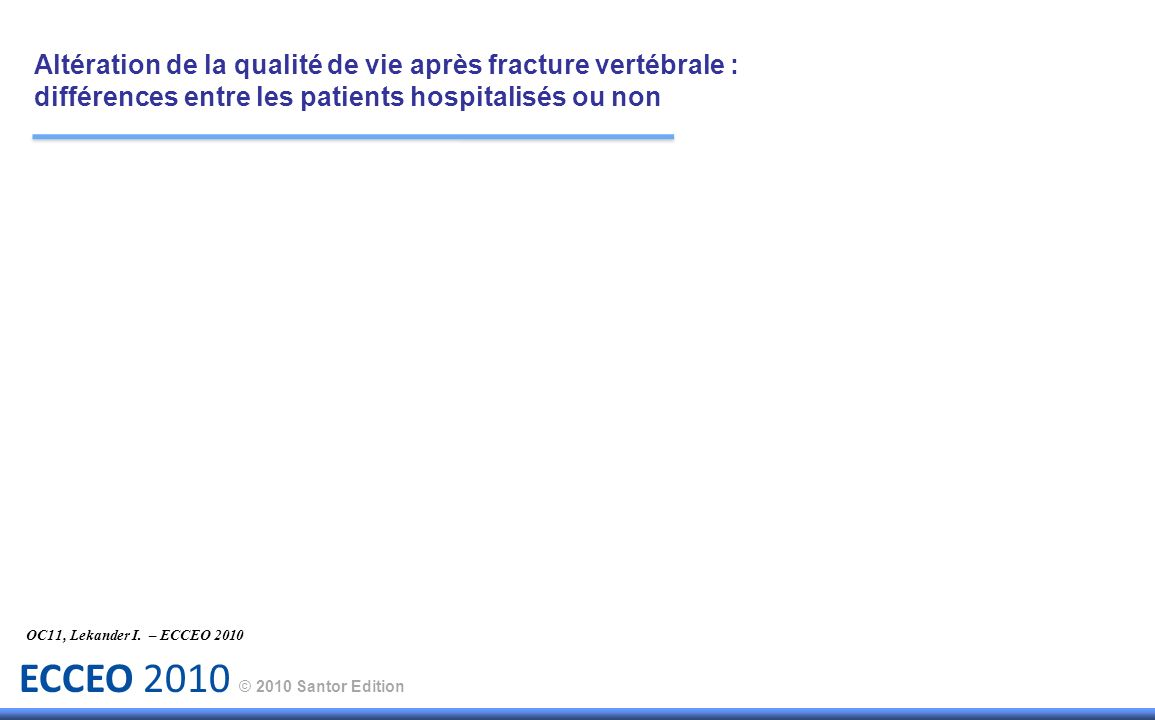 ECCEO 2010 © 2010 Santor Edition Résultats : Environ 400 000 patientes atteintes de fractures vertébrales ont été évaluées à travers la base de données Medicare.