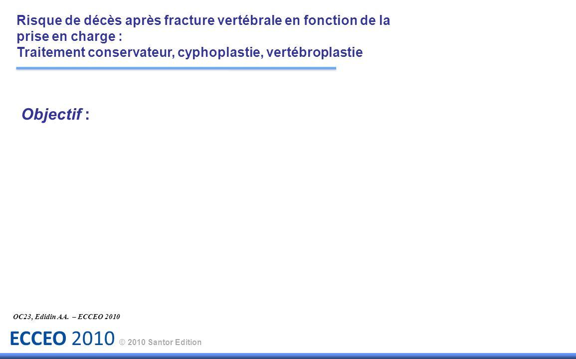 ECCEO 2010 © 2010 Santor Edition Objectif : OC23, Edidin AA. – ECCEO 2010 Risque de décès après fracture vertébrale en fonction de la prise en charge
