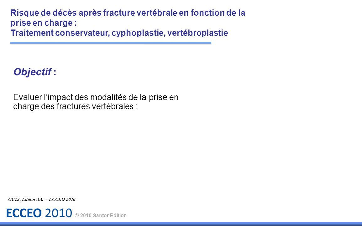 ECCEO 2010 © 2010 Santor Edition Objectif : Evaluer limpact des modalités de la prise en charge des fractures vertébrales : OC23, Edidin AA. – ECCEO 2