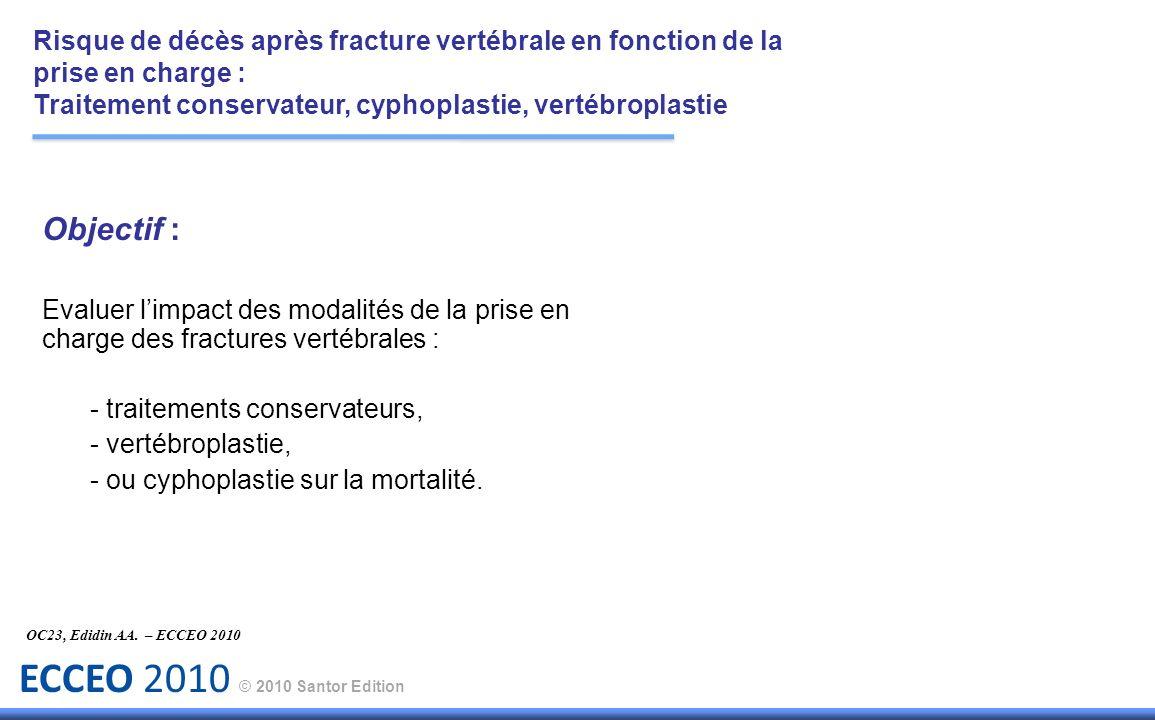 ECCEO 2010 © 2010 Santor Edition Objectif : Evaluer limpact des modalités de la prise en charge des fractures vertébrales : - traitements conservateur