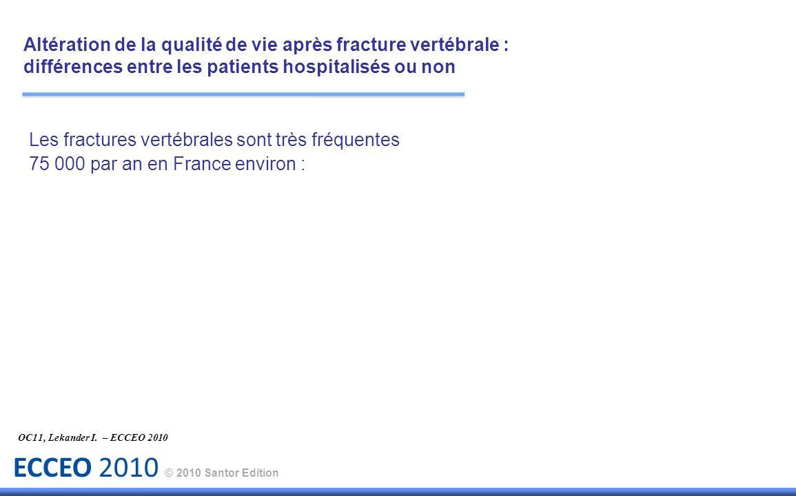 ECCEO 2010 © 2010 Santor Edition Les fractures vertébrales sont très fréquentes 75 000 par an en France environ : OC11, Lekander I. – ECCEO 2010 Altér