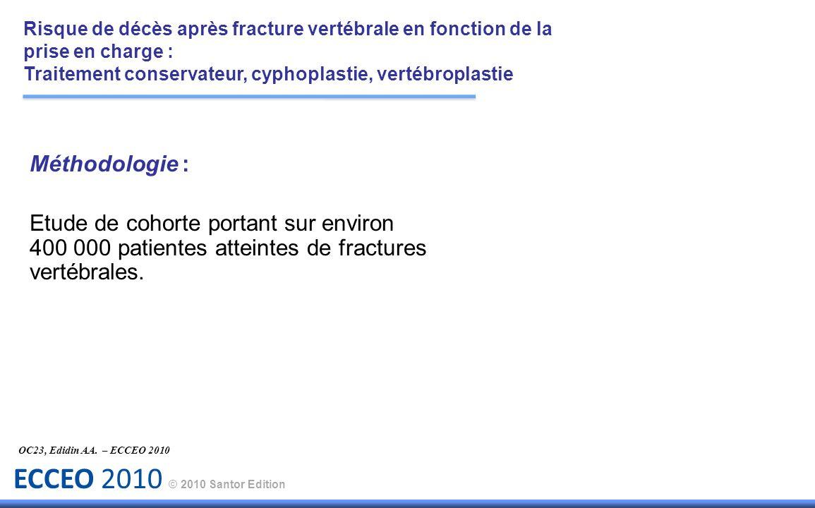 ECCEO 2010 © 2010 Santor Edition Méthodologie : Etude de cohorte portant sur environ 400 000 patientes atteintes de fractures vertébrales. OC23, Edidi