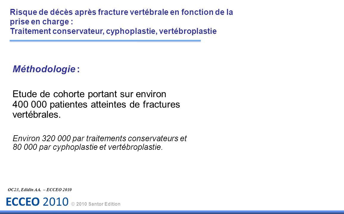 ECCEO 2010 © 2010 Santor Edition Méthodologie : Etude de cohorte portant sur environ 400 000 patientes atteintes de fractures vertébrales. Environ 320