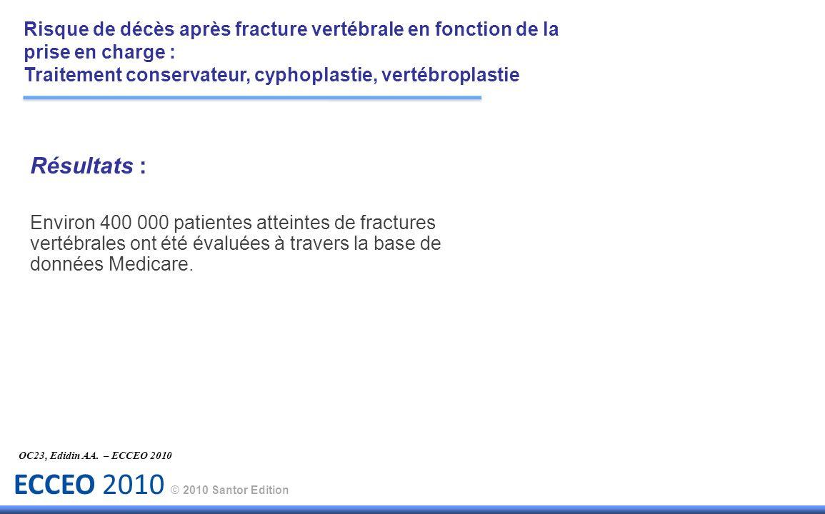 ECCEO 2010 © 2010 Santor Edition Résultats : Environ 400 000 patientes atteintes de fractures vertébrales ont été évaluées à travers la base de donnée