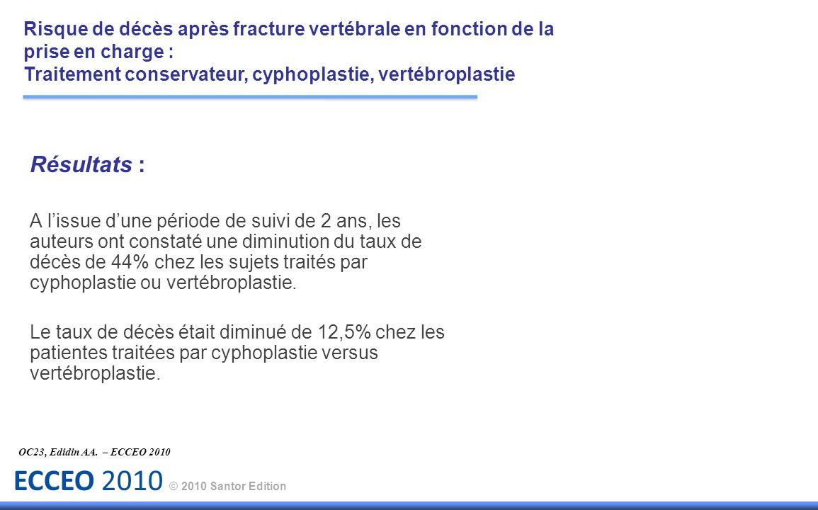 ECCEO 2010 © 2010 Santor Edition Résultats : A lissue dune période de suivi de 2 ans, les auteurs ont constaté une diminution du taux de décès de 44%