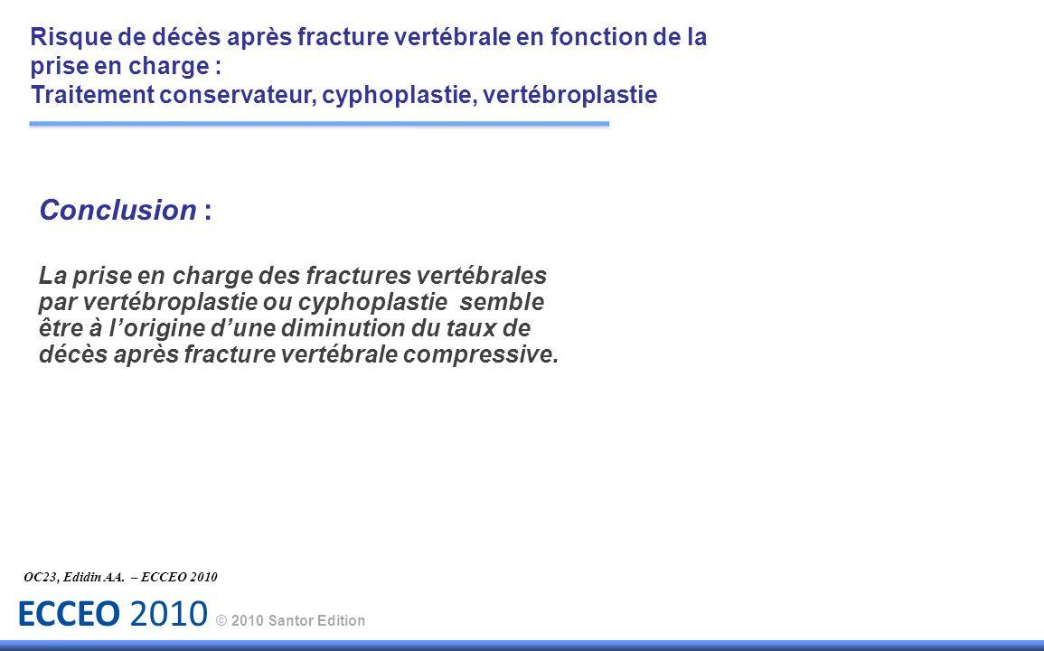 ECCEO 2010 © 2010 Santor Edition Conclusion : La prise en charge des fractures vertébrales par vertébroplastie ou cyphoplastie semble être à lorigine