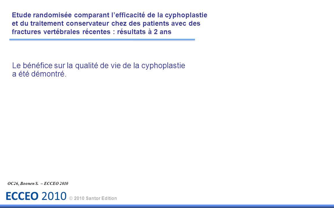 ECCEO 2010 © 2010 Santor Edition Le bénéfice sur la qualité de vie de la cyphoplastie a été démontré. OC26, Boonen S. – ECCEO 2010 Etude randomisée co