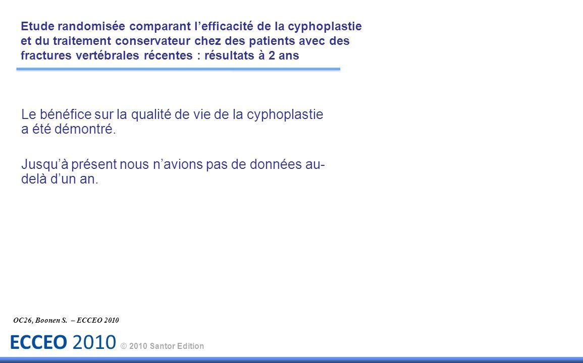 ECCEO 2010 © 2010 Santor Edition Le bénéfice sur la qualité de vie de la cyphoplastie a été démontré. Jusquà présent nous navions pas de données au- d
