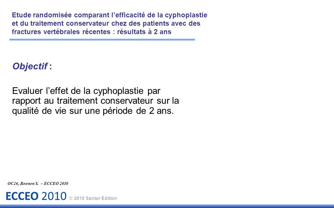 ECCEO 2010 © 2010 Santor Edition Objectif : Evaluer leffet de la cyphoplastie par rapport au traitement conservateur sur la qualité de vie sur une pér