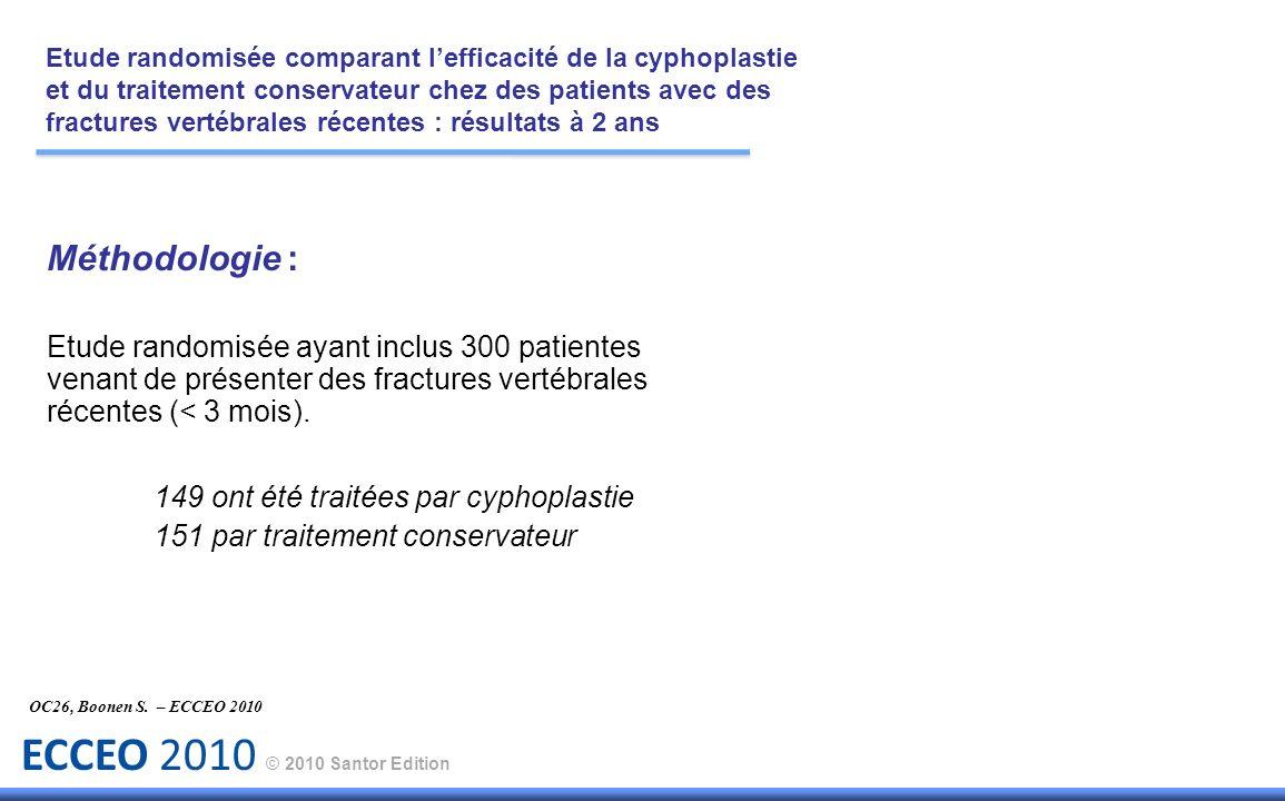 ECCEO 2010 © 2010 Santor Edition Méthodologie : Etude randomisée ayant inclus 300 patientes venant de présenter des fractures vertébrales récentes (<