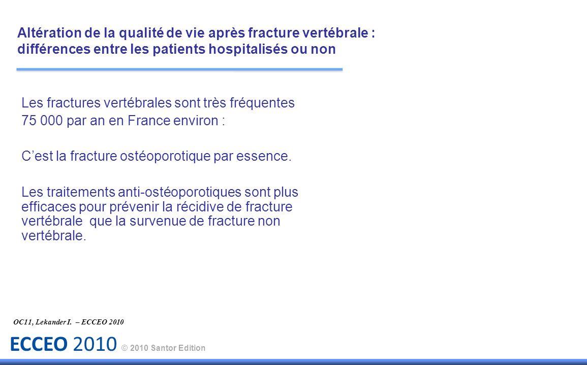 ECCEO 2010 © 2010 Santor Edition Objectif : Evaluer leffet de la cyphoplastie par rapport au traitement conservateur sur la qualité de vie sur une période de 2 ans.