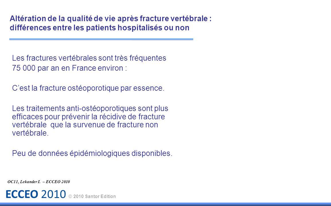 ECCEO 2010 © 2010 Santor Edition Objectif : Altération de la qualité de vie après fracture vertébrale : différences entre les patients hospitalisés ou non OC11, Lekander I.