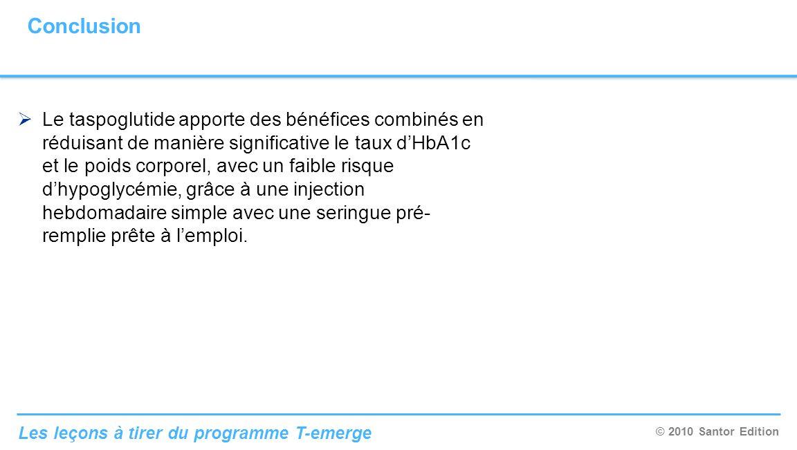 © 2010 Santor Edition Les leçons à tirer du programme T-emerge Le taspoglutide apporte des bénéfices combinés en réduisant de manière significative le