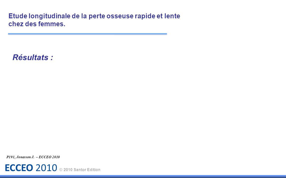 ECCEO 2010 © 2010 Santor Edition Résultats : Etude longitudinale de la perte osseuse rapide et lente chez des femmes. P191, Jonasson J. – ECCEO 2010