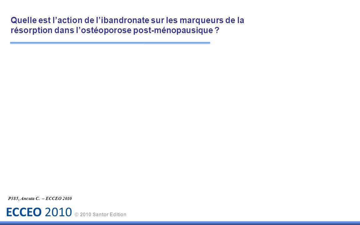 ECCEO 2010 © 2010 Santor Edition P385, Ancuta C. – ECCEO 2010 Quelle est laction de libandronate sur les marqueurs de la résorption dans lostéoporose