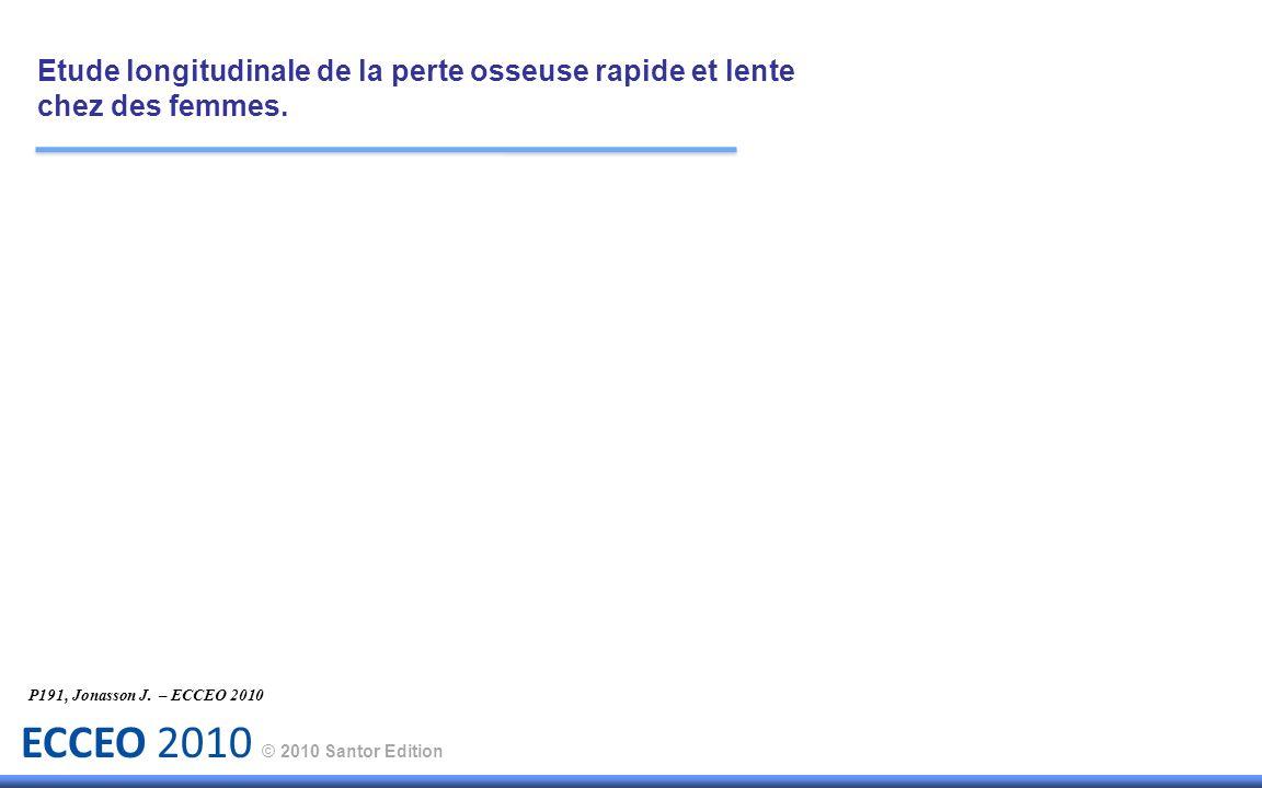 ECCEO 2010 © 2010 Santor Edition Résultats : Etude longitudinale de la perte osseuse rapide et lente chez des femmes.