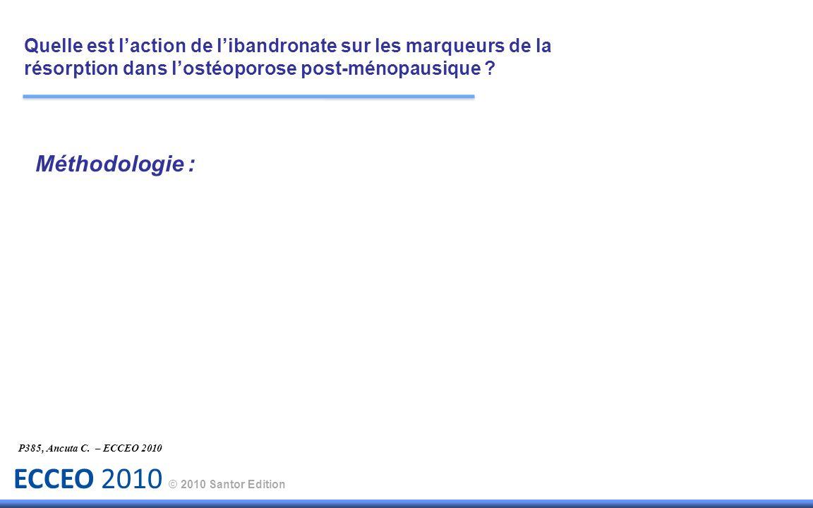 ECCEO 2010 © 2010 Santor Edition P385, Ancuta C. – ECCEO 2010 Méthodologie : Quelle est laction de libandronate sur les marqueurs de la résorption dan
