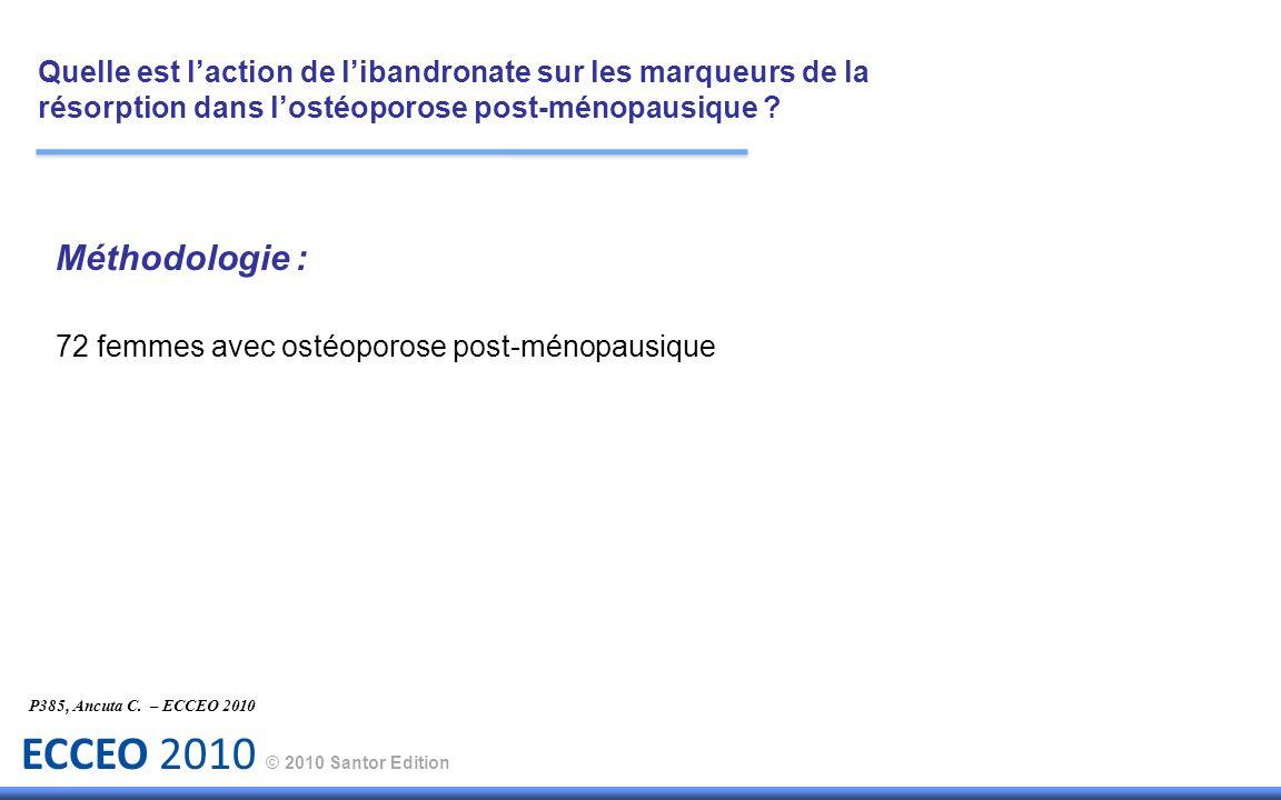 ECCEO 2010 © 2010 Santor Edition P385, Ancuta C. – ECCEO 2010 Méthodologie : 72 femmes avec ostéoporose post-ménopausique Quelle est laction de liband