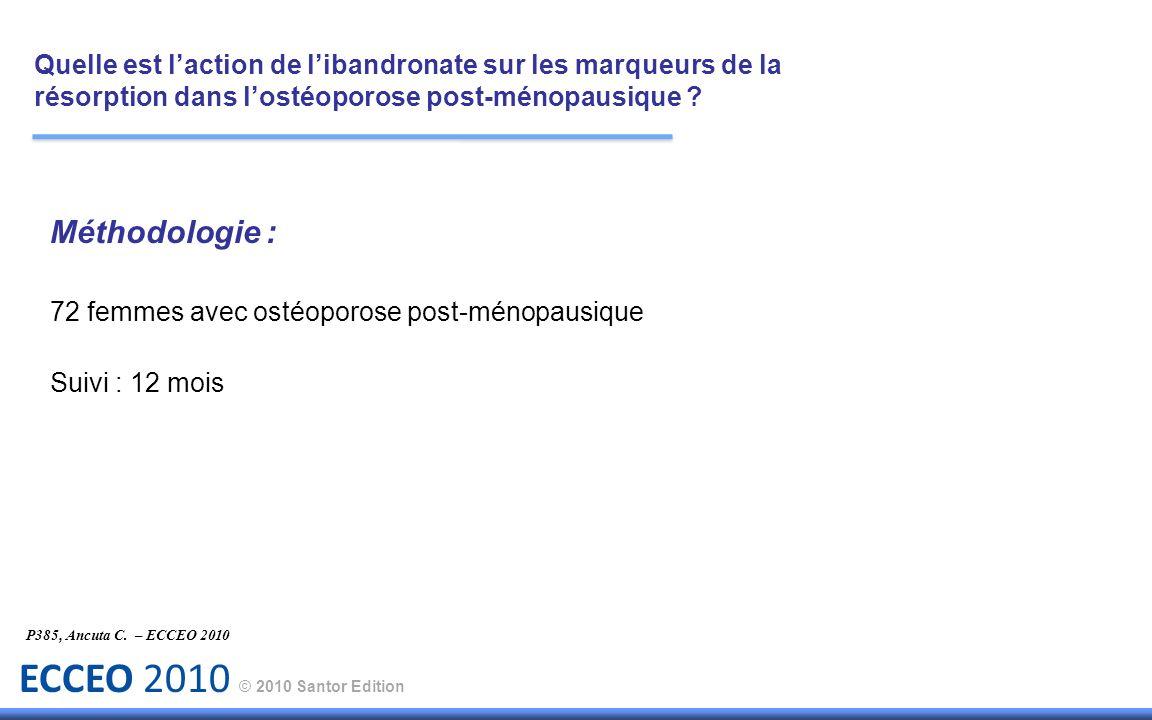 ECCEO 2010 © 2010 Santor Edition P385, Ancuta C. – ECCEO 2010 Méthodologie : 72 femmes avec ostéoporose post-ménopausique Suivi : 12 mois Quelle est l