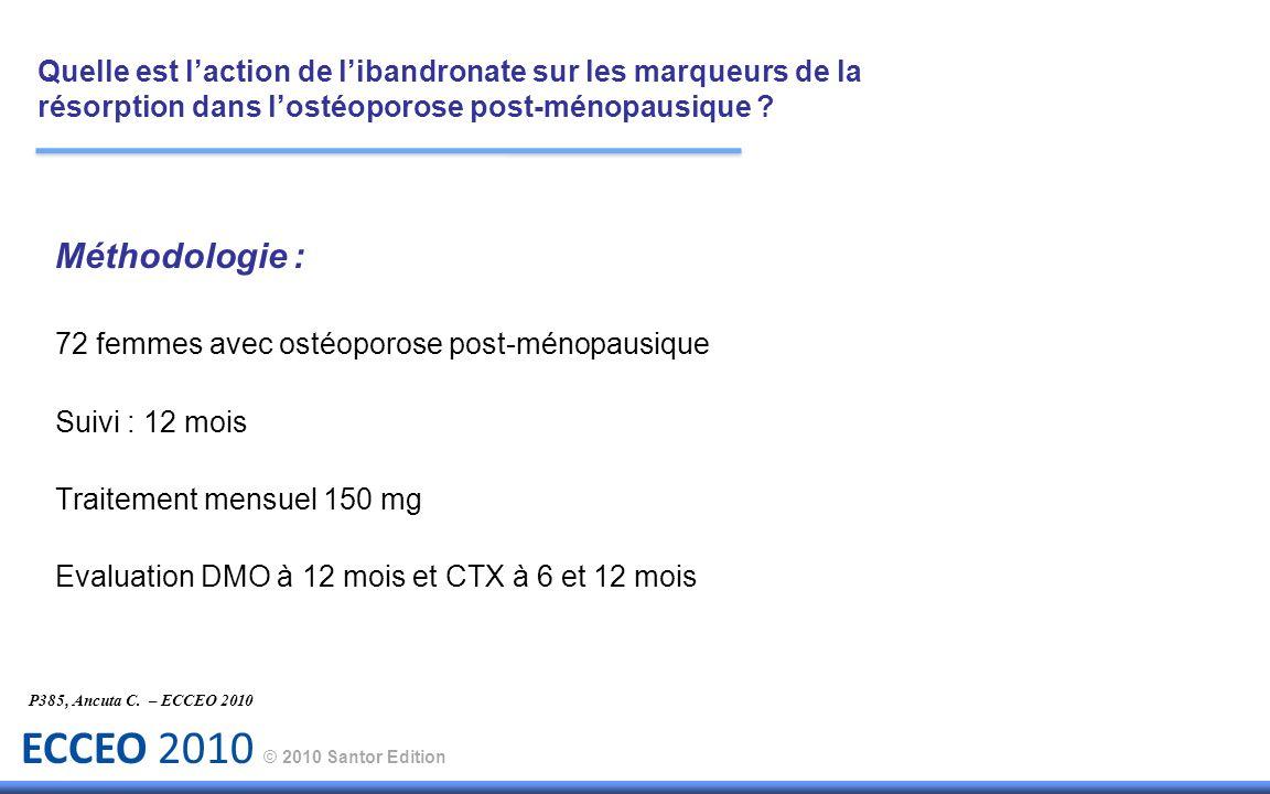 ECCEO 2010 © 2010 Santor Edition P385, Ancuta C. – ECCEO 2010 Méthodologie : 72 femmes avec ostéoporose post-ménopausique Suivi : 12 mois Traitement m