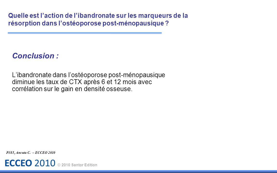 ECCEO 2010 © 2010 Santor Edition P385, Ancuta C. – ECCEO 2010 Conclusion : Libandronate dans lostéoporose post-ménopausique diminue les taux de CTX ap