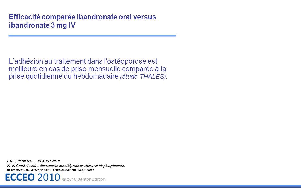 ECCEO 2010 © 2010 Santor Edition Ladhésion au traitement dans lostéoporose est meilleure en cas de prise mensuelle comparée à la prise quotidienne ou