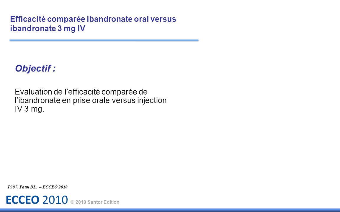 ECCEO 2010 © 2010 Santor Edition Objectif : Evaluation de lefficacité comparée de libandronate en prise orale versus injection IV 3 mg. P387, Paun DL.