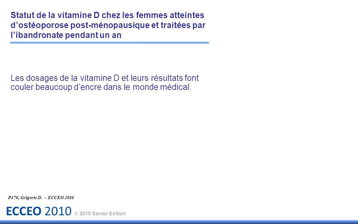 ECCEO 2010 © 2010 Santor Edition Les dosages de la vitamine D et leurs résultats font couler beaucoup dencre dans le monde médical. P470, Grigorie D.