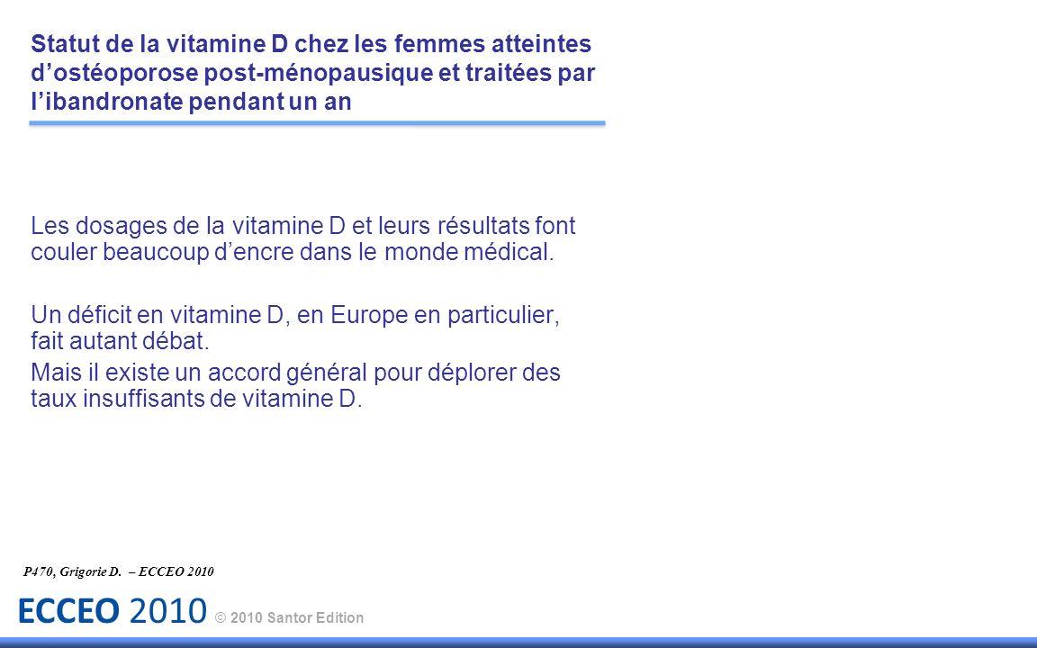 ECCEO 2010 © 2010 Santor Edition Les dosages de la vitamine D et leurs résultats font couler beaucoup dencre dans le monde médical. Un déficit en vita
