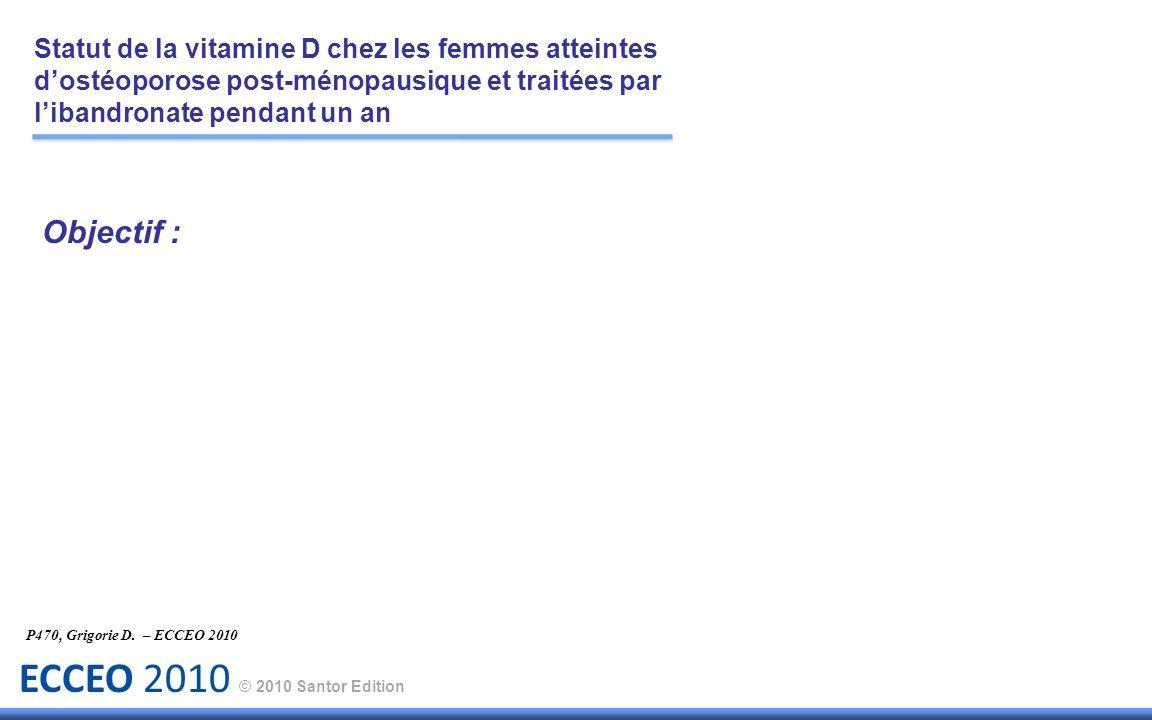 ECCEO 2010 © 2010 Santor Edition Objectif : P470, Grigorie D. – ECCEO 2010 Statut de la vitamine D chez les femmes atteintes dostéoporose post-ménopau